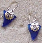 Beach Glass Sand Dollar Charm Earrings