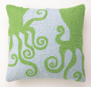 Green Octopuses Hooked Pillow