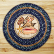 Earth Rugs® Sea Shells Round Braided Rug