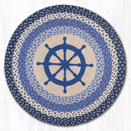 Earth Rugs® Nautical Wheel Round Braided Rug