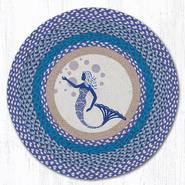 Earth Rugs® Blue Mermaid Round Braided Rug