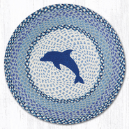 Earth Rugs® Blue Dolphin Round Braided Rug