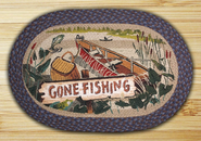 Earth Rugs® Gone Fishing Oval Braided Rug
