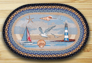 Blue Sea Coastal Oval Patch Rug