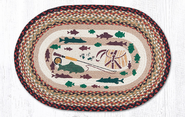Lodge 2 Fishing Oval Patch Rug