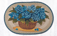 Blue Hydrangea Oval Patch Rug