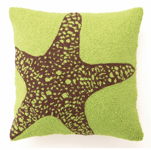 Green Starfish Hooked Pillow