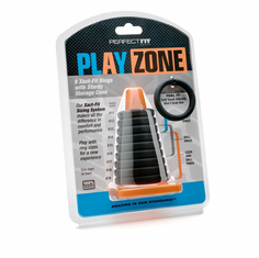 Play Zone Cock Ring Kit - Black 9 pack