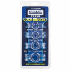 TitanMen Cock Ring Set - Clear 4 pack