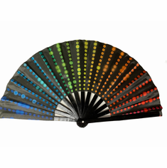 Large Hand Fans - Rainbow Neon Dots 13""