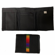 Wallet - Tri-Fold Black With Rainbow Bar Woven