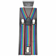 Suspenders - Rainbow Striped Glitter