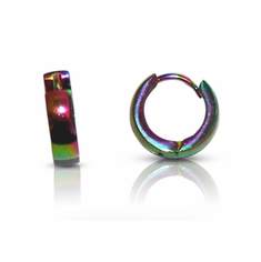 Earrings (Stainless Steel) - Anodized Rainbow Hoops