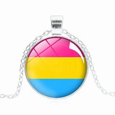 Glass Alloy Pride Pendant - Pansexual Pride