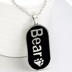 Military ID Necklace - Bear Paw