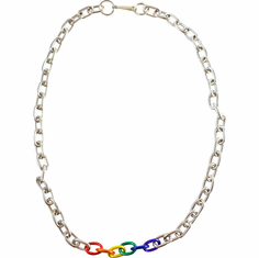 Necklace - Rainbow with Silver Chain Links