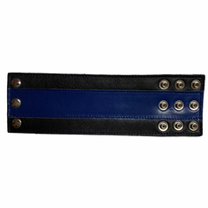 Leather Wristband - Wide Blue