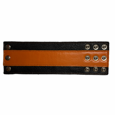 Leather Wristband - Wide Orange