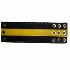 Leather Wristband - Wide Yellow