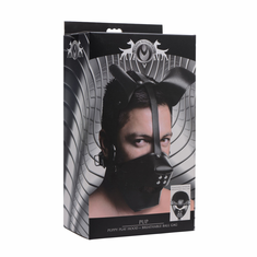 Pup Puppy Play Hood and Breathable Ball Gag - Black