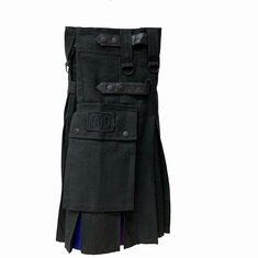 Kilt - Black with Solid Rainbow Inlets 48