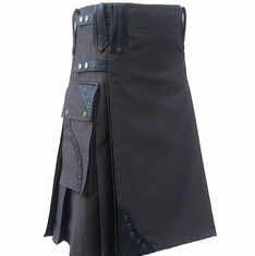Kilt - Green with Leather Accents 34