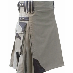 Kilt - Tan with Leather Accents 46