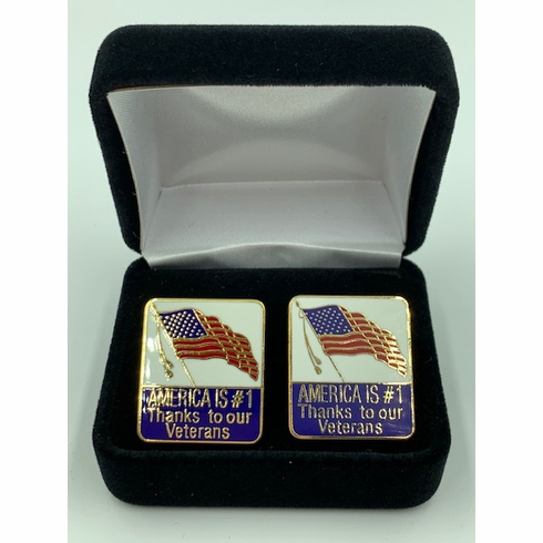 America Is #1 Thanks To Our Veterans Cufflink