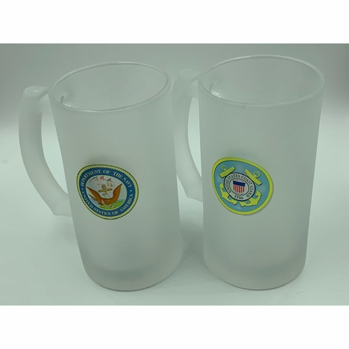 Frosted Beer Glass with Handle