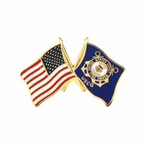 United States & Coast Guard Crossed Flags Pin
