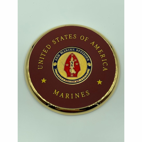 2nd Marine Division Coin Coaster