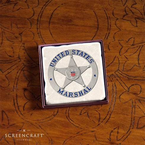 Marble Coaster with USMS Badge