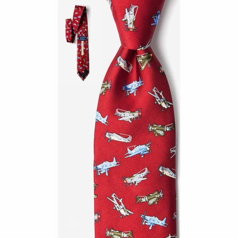 WWII FIGHTER PLANES SILK TIE