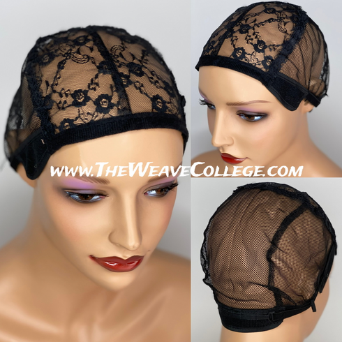 Black Lace & Net Stretch Wig Cap