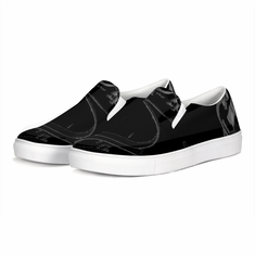 Black Canvas Slip Ons With Self Mastery Flame