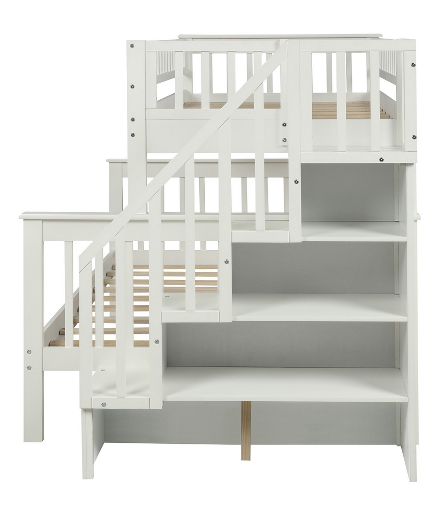 Vittoria White Wood Twin over Full Bunk Bed by ClioCasa
