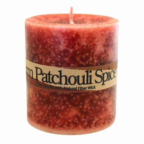 Warm Patchouli Spice Pillar Candle