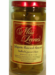 Jalapeno Pepper Flavored Almond Stuffed Queen Olives