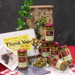 ''Miss Leone's Gourmet Thank You Queen Stuffed Olive 6 Pack Jar Set