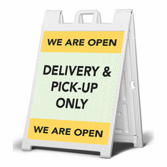 Open for Delivery and pick-up only  - sign