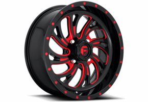Fuel Kompressor D642 Gloss Black w| Red Accents Wheel Set - 18 and 20 Inch