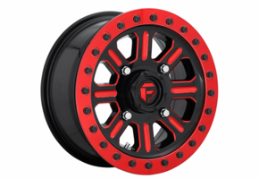 Fuel Hardline D911 Gloss Black & Milled w| Red Accents Beadlock Wheel Set - 15 Inch