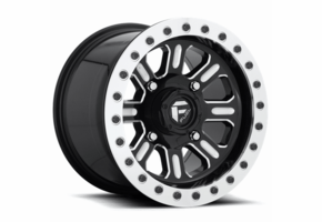 Fuel Hardline D910 Gloss Black & Milled Beadlock Wheel Set - 15 Inch