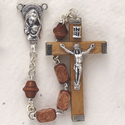 4 X 7mm Square Light Wood Bead and Maddona with Baby Center Rosary