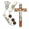 6mm Carved Wood Beads w/Six Tablets and Miraculous Center Rosary