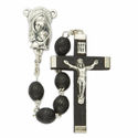 7mm Black Carved Wood Beads and Madonna &  Baby Center Rosary