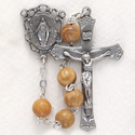 6mm Olive Wood Beads and Miraculous Center Rosary