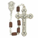 4 x 6mm Brown Square Cut Brown Beads and Madonna Center Rosary