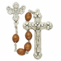 6mm Carved Wood Beads and Four Way Center Rosary