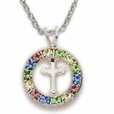 "Sterling Silver Cross Necklace embodied in a Colored Stones Circle Design on 18"" Chain"